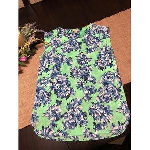 J.Crew Lime Green, Blue Floral Blouse Size XS